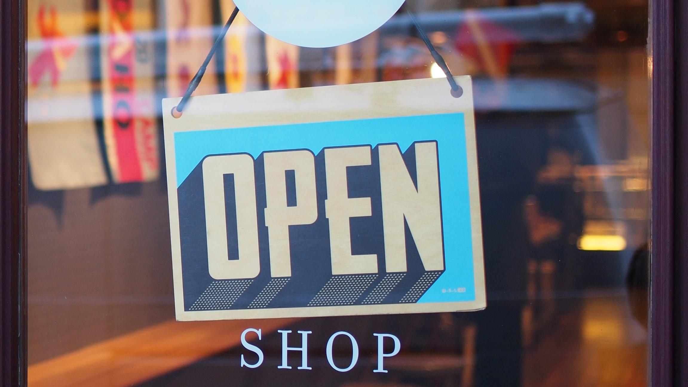 Open sign in a shop window